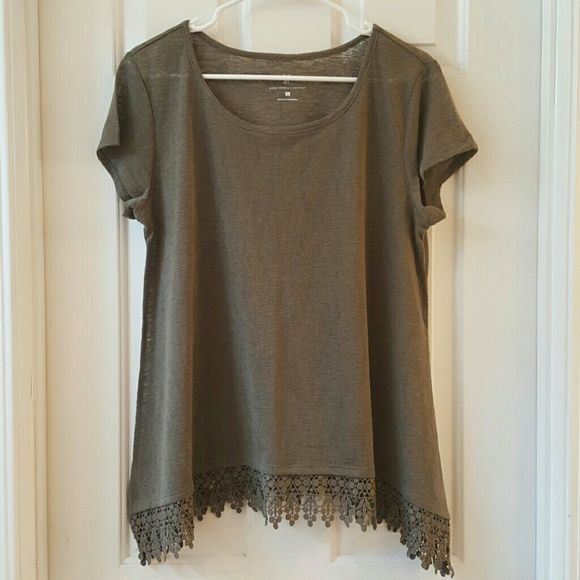 NY&CO Olive Crochet Hem Top NY&CO Olive Crochet Hem Top. This top is somewhat sheer. 100% Polyester. Never worn. New York & Company Tops Tees - Short Sleeve