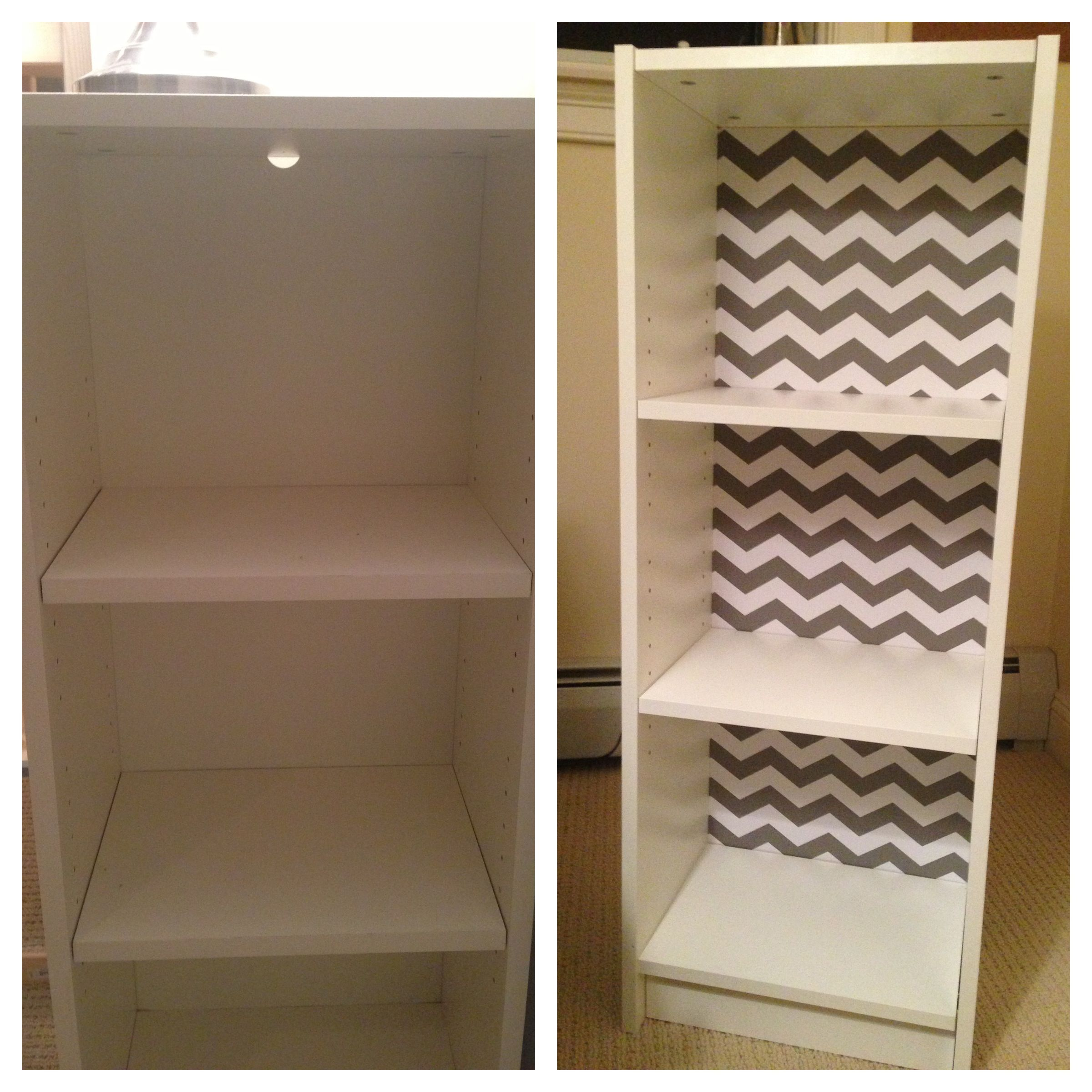 Upcycled Ikea Billy Bookshelf Macbeth Contact Paper