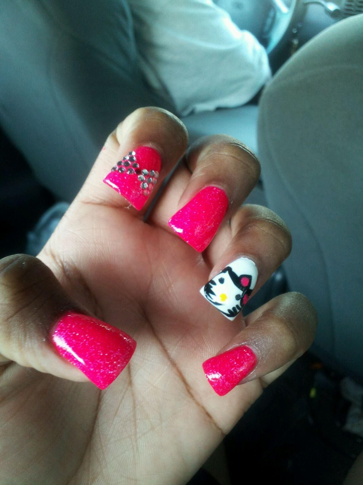 Hello kitty duck tip nails hair u makeup u workouts pinterest