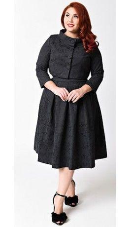5529b528cdb46 Lindy Bop Plus Size 1950s Black Jacquard Marianne Swing Dress   Jacket Set  40s Fashion