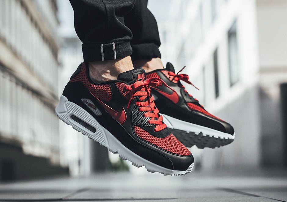 Nike Air Max 90 Black Tough Red 537384 076 Con Imagenes