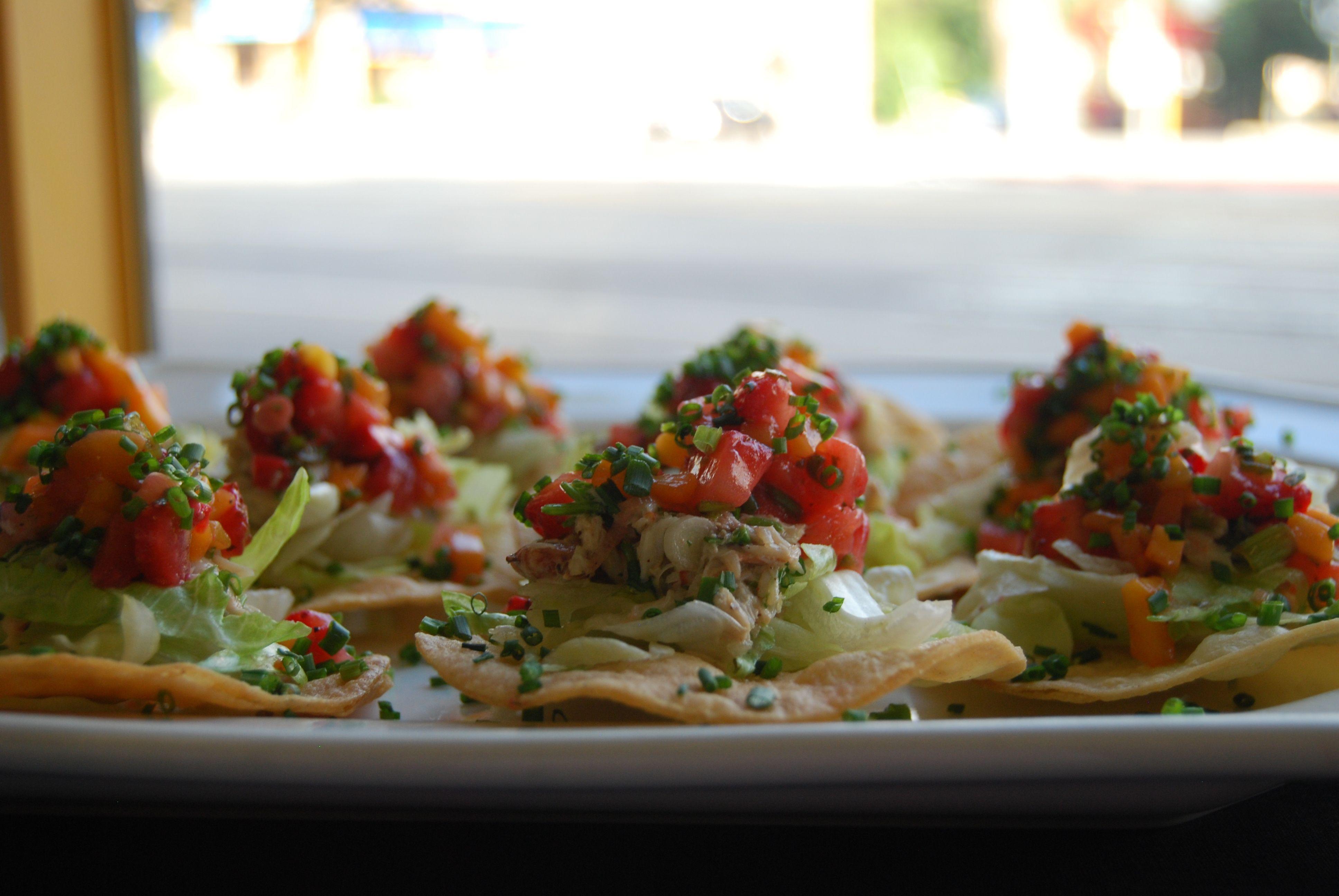 Crab Tostadas with Strawberries and Mango Salsa via Laura Lohr | My Beautiful Life