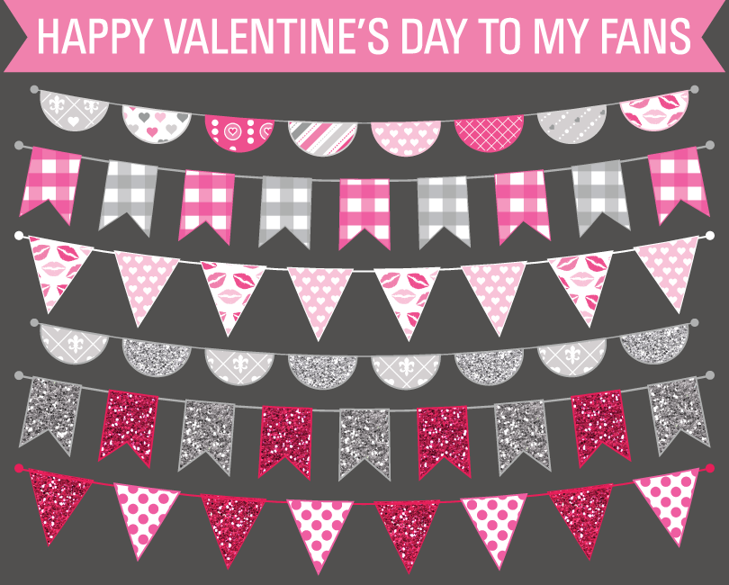 FREE Clip Art Valentine's Day Bunting Flags | Valentines Day ...