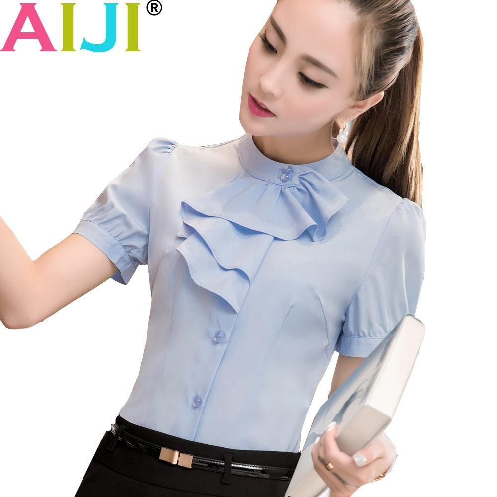 134edfb1eb6e9 AIJI elegant OL shirts women office blouse short sleeve bow tie chiffon  tops ladies plus size formal slim work wear. Yesterday s price  US  21.62  (18.77 ...
