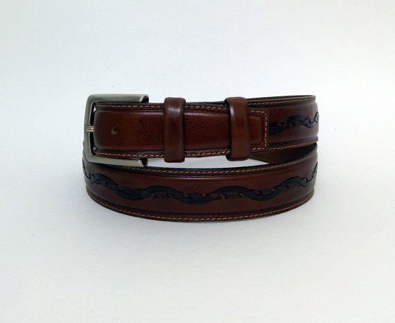 "44"" Brown Leather Adjustable Belt, Brown Mens Belt - BLT940 - Max size : 44.49"" (113 cm) #handmadeatamazon #nazodesign"