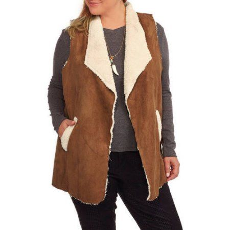 0fa2c20f89f Plus Size French Laundry Women s Plus Flyaway Vest with Moleskin Sherpa