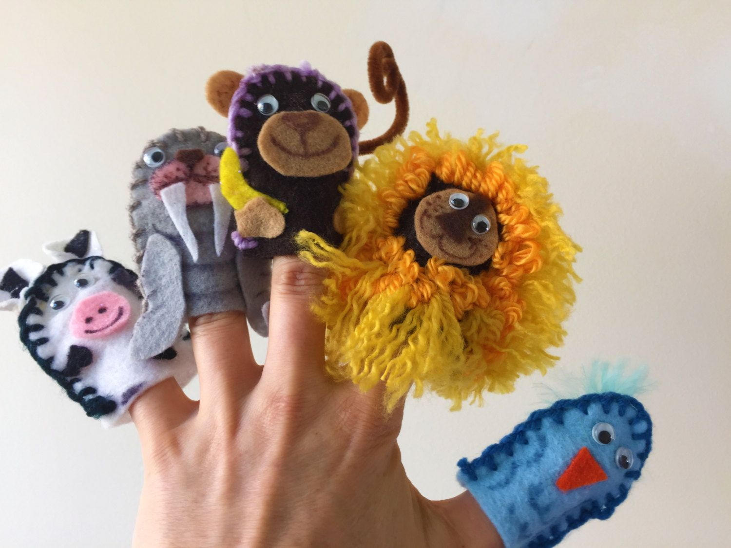 Embroidered finger puppet set (12) by SallySunshineDesign on Etsy