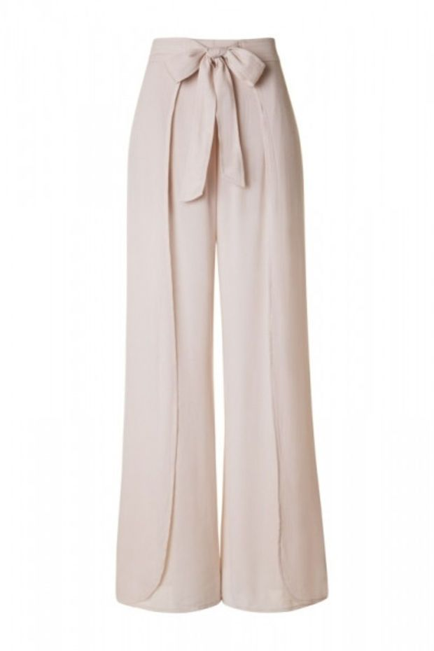 ea82359b2c7 Layered Front High Waist with Tie Lightweight Palazzo Pants - Beige ...