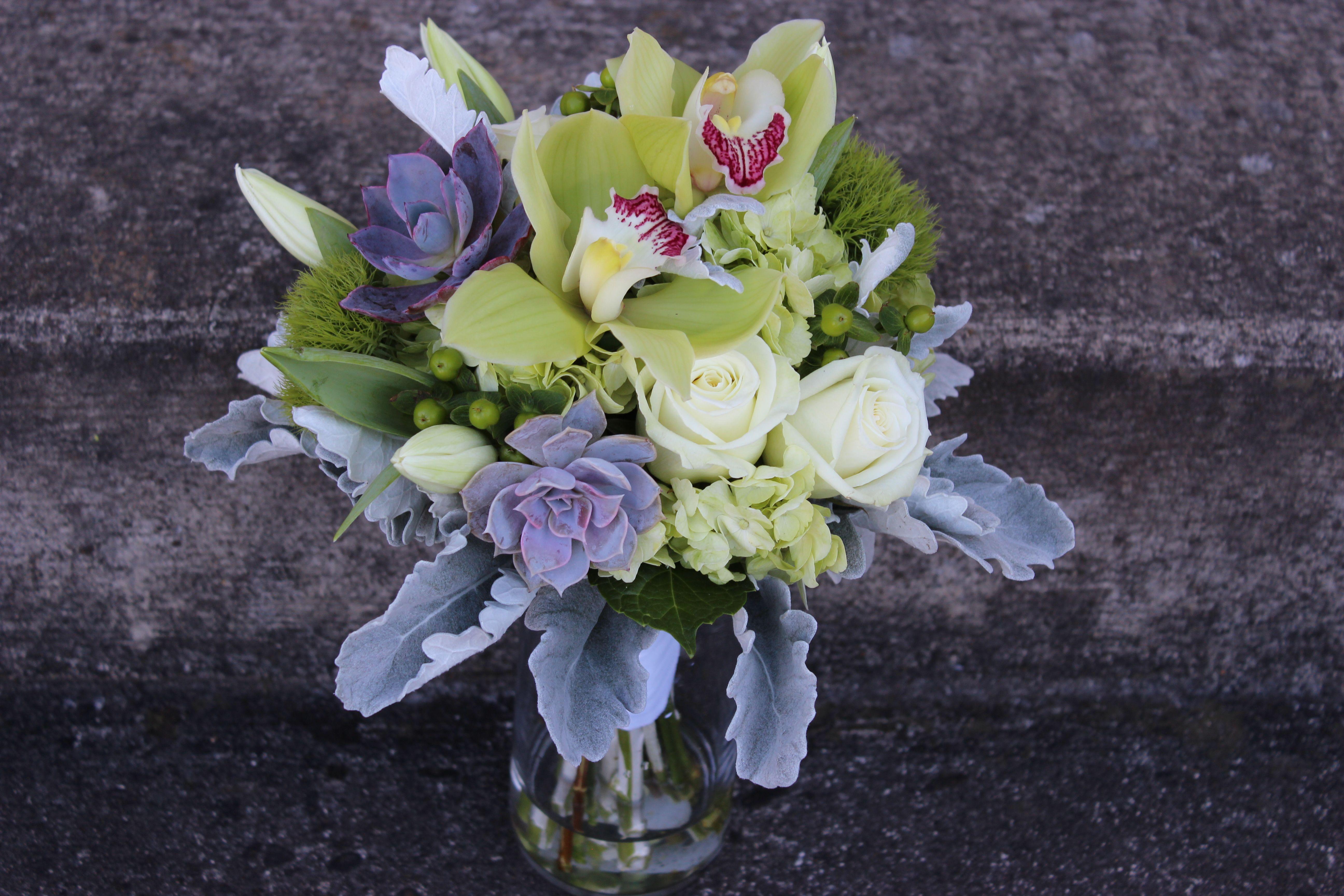 succulent wedding orchids gray and green bouquet modern