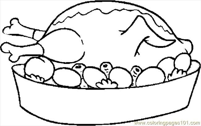 Coloring Pages Turkey Cooked 08 (Holidays > Thanksgiving Day ...