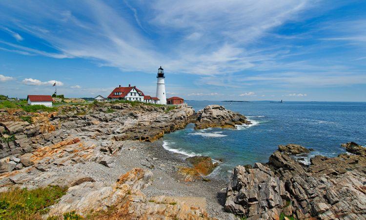 New England Coast= seafood,  the Atlantic, lighthouses, beaches, sailing ships, and SEAFOOD