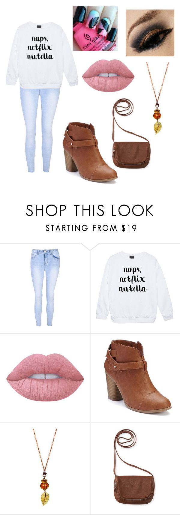 """""""Naps, Netflix, Nutella"""" by whitecocoa1999 ❤ liked on Polyvore featuring Glamorous, Lime Crime, LC Lauren Conrad and Aéropostale"""