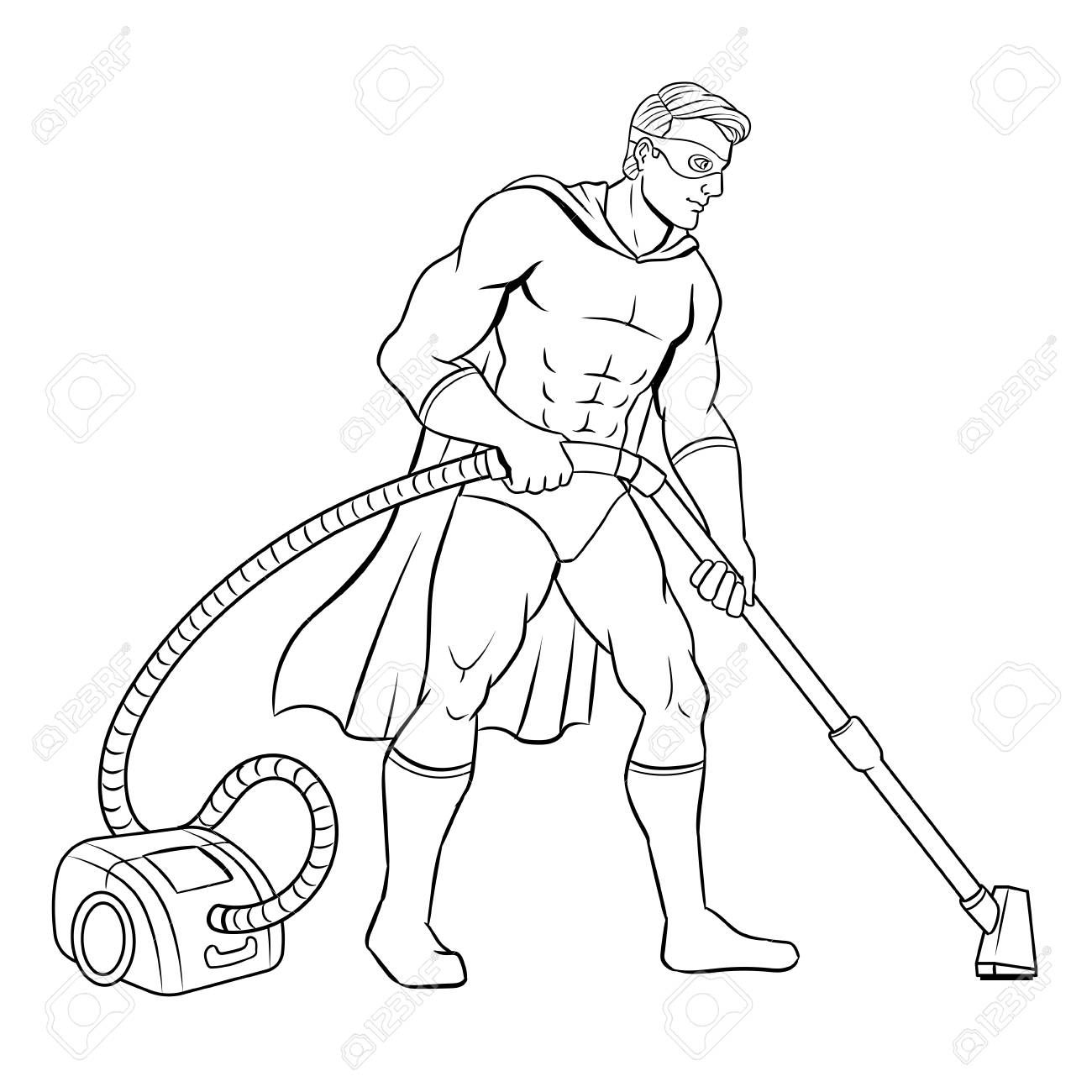 Superhero With Vacuum Cleaner Coloring Book Vector Illustration