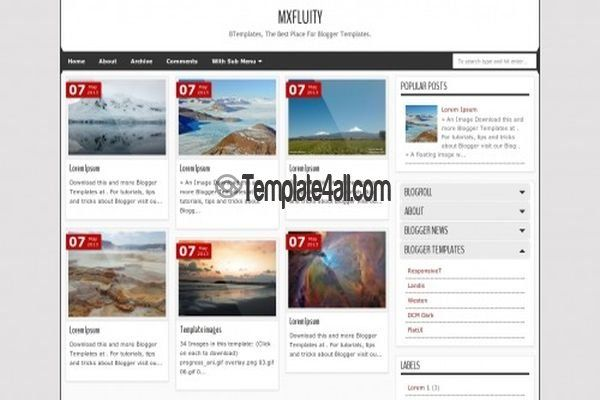 4 Columns Simple Blogger Theme - Free Blogger Templates