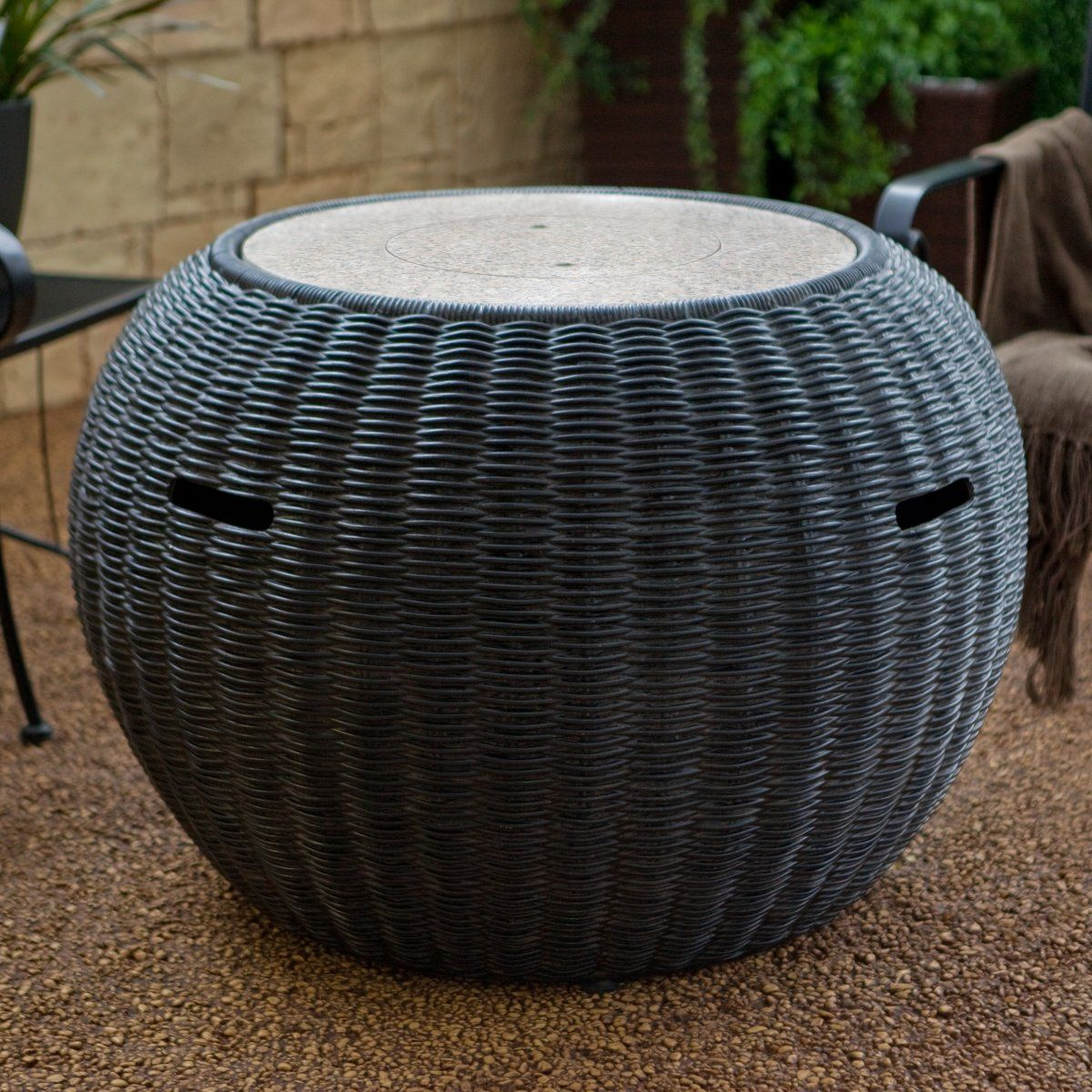 Stone Resin Wicker Design Propane Fire Pit Table With Burner Cover - Resin wicker fire pit table