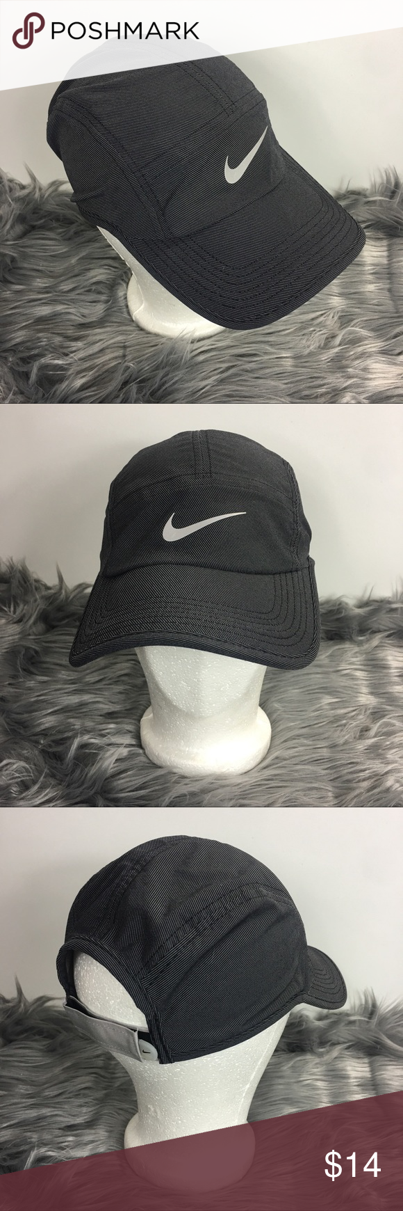 e80377fd19bd5 Nike AW84 Dri-fit 5 Panel Cap Hat Reflective Nike AW84 Dri-fit 5 Panel Cap  Hat Dark Gray Reflective Adjustable Adult Unisex Very Nice Pre-Owned  Condition