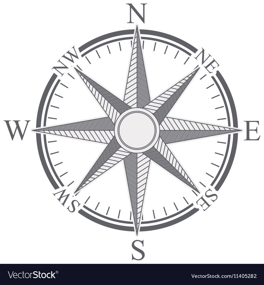 Compass rose design vector image on | Compass rose design ...