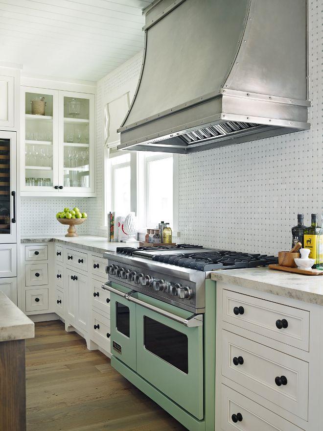 White Kitchen Vent Hood custom steel range hood,, white cabinets, sage green oven