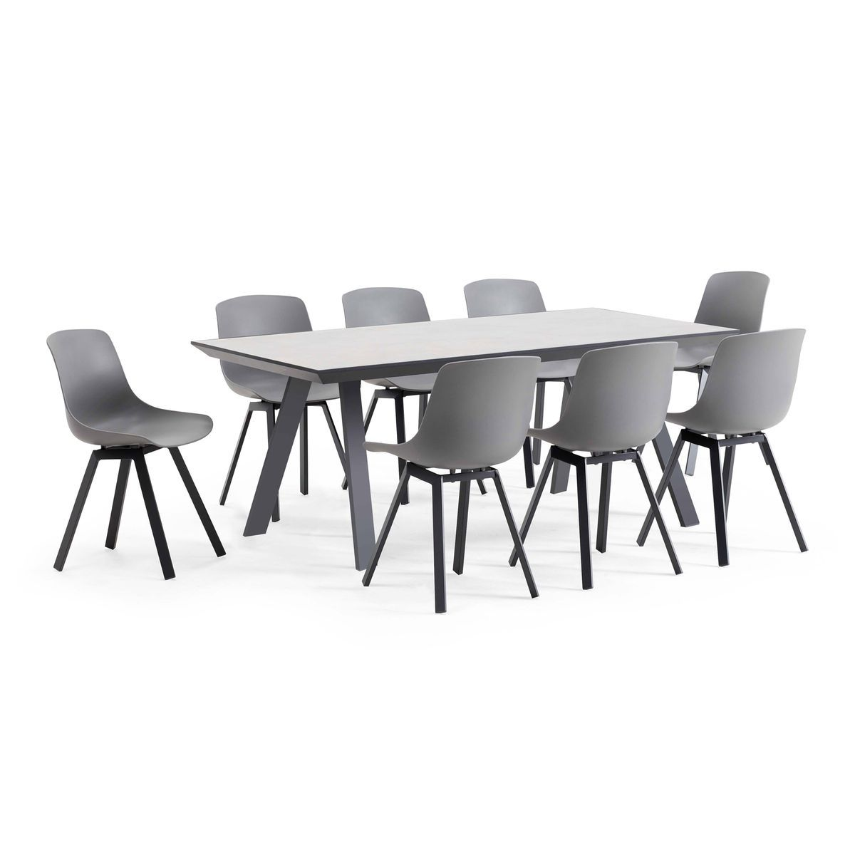 Salon De Jardin Scandinave 1 Table Plateau Ceramique 8 Chaises