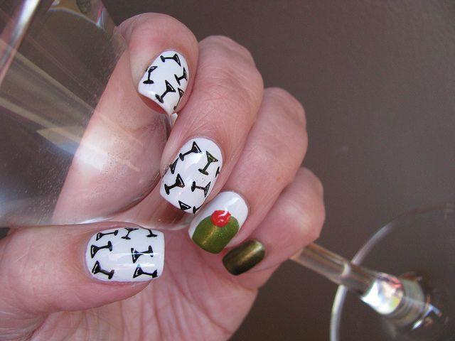 martini nails | Martini nails, White nail polish and Black polish