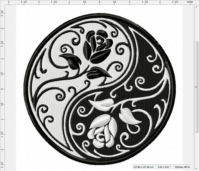 Floral Yin Yang Machine Embroidery Design by LightsOutCreations on Etsy | Yin yang tattoos ...