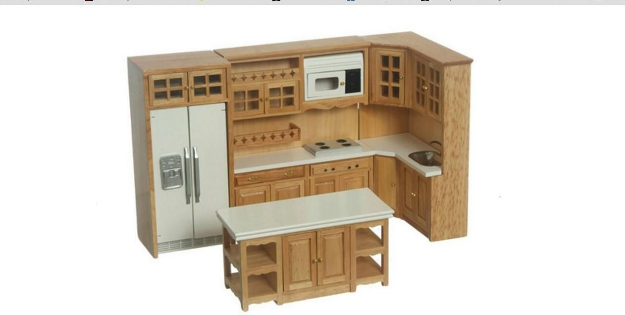 dollhouse miniature oak kitchen set modern cabinets w/ island