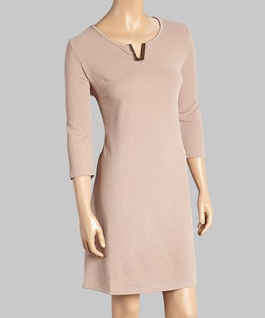This Taupe Embellished-Neck Shift Dress - Women & Plus by Malina is perfect! #zulilyfinds
