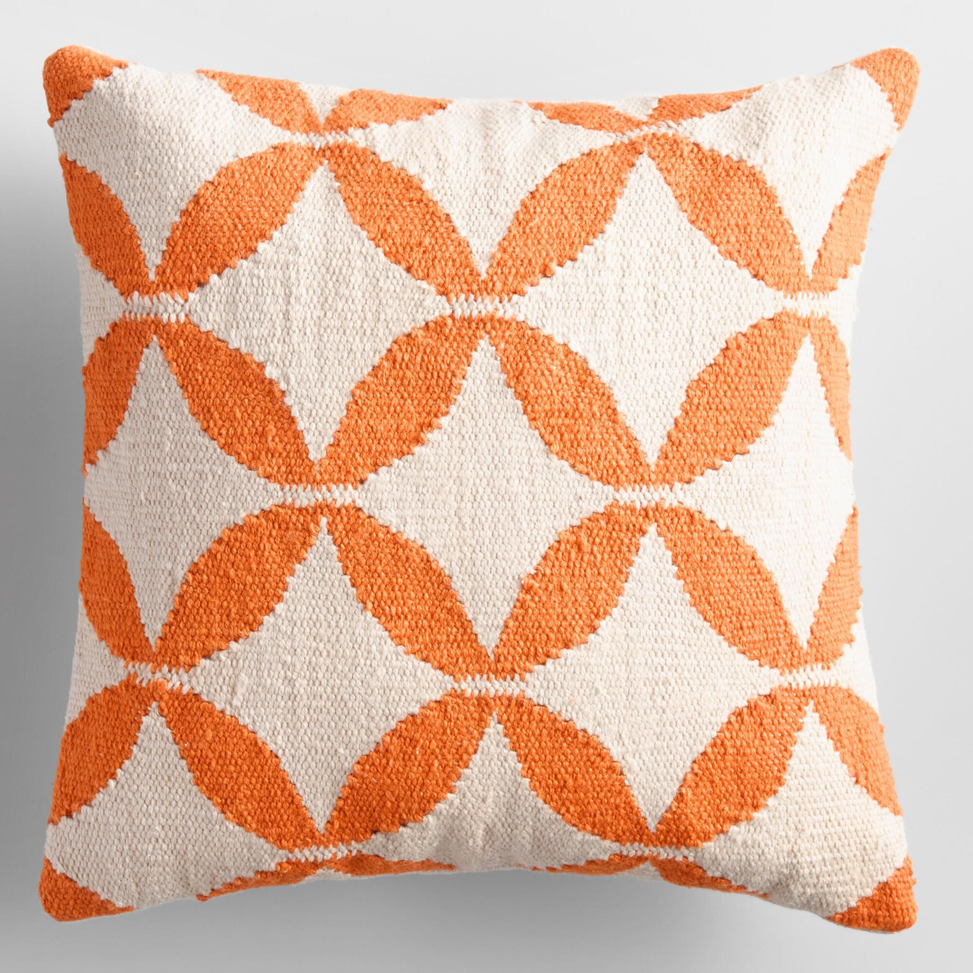Bright Orange Petals Woven Indoor Outdoor Patio Throw Pillow 18 Square By World Market Colorful Throw Pillows Throw Pillows Diy Throw Pillows