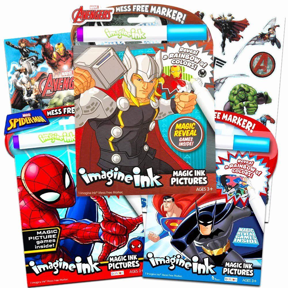 Free Superhero Coloring Books Elegant Imagine Ink Bundle Of 3 Superhero Magic Activity Books Set Jus Toddler Coloring Book Superhero Coloring Avengers Coloring