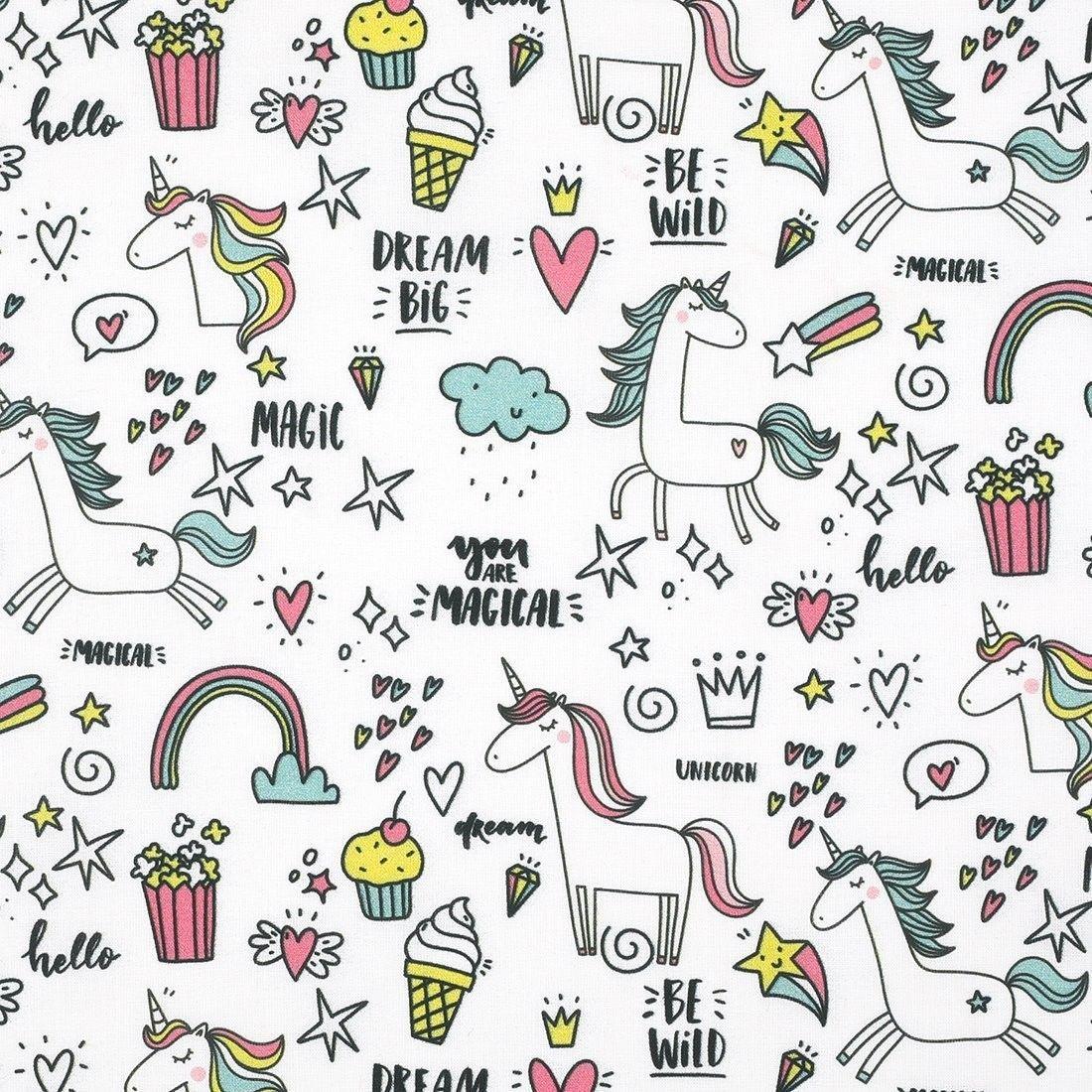 tissu coton licorne magic mondial