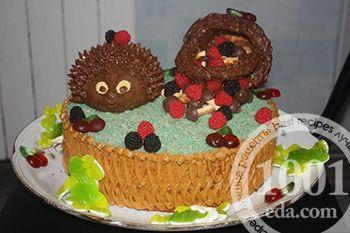 Торт Ежик с корзинкой   Торт без выпечки, Торт, Рецепты тортов