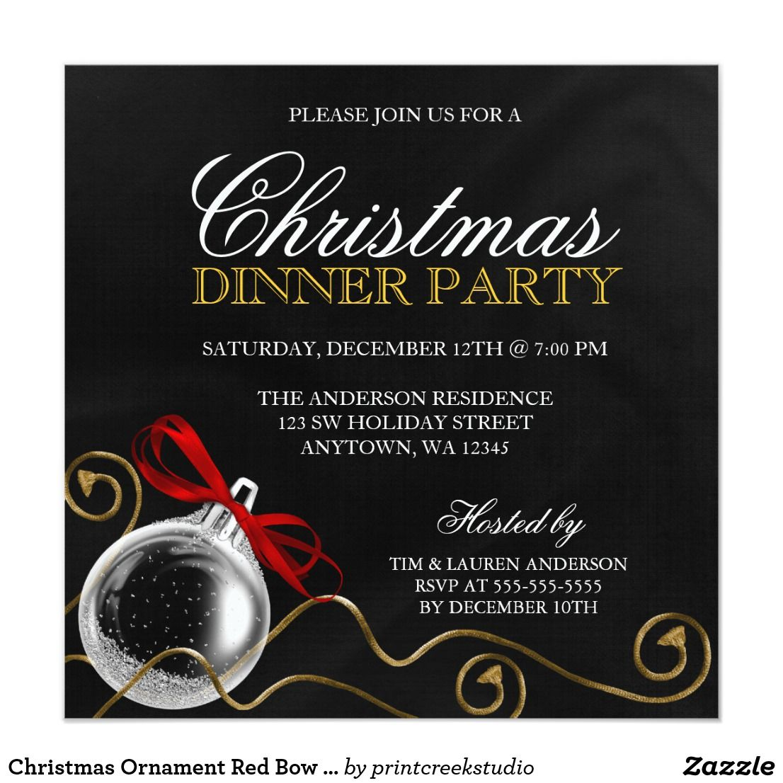 Christmas Ornament Red Bow Dinner Party Card Invite your guests in ...