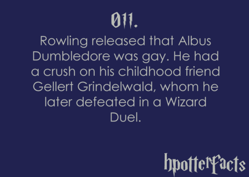 Harry Potter Facts #011:    Rowling released that Albus Dumbledore was gay.  He had a crush on his childhood friend Gellert Grindelwald, whom he later defeated in a Wizard Duel.
