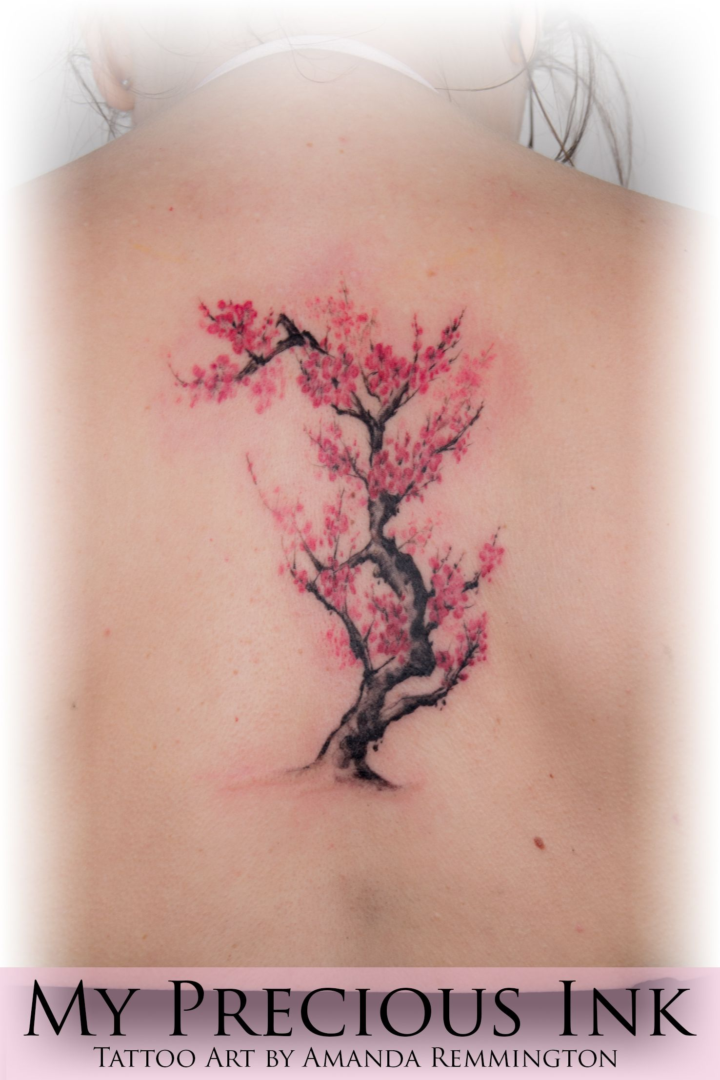 Freehand Watercolor Cherryblossom Tree Tattoo Watercolottattoo