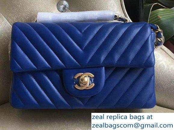 c20aba86867 Chanel Chevron Lambskin Classic Flap Mini Bag A1116 Blue With Gold Hardware
