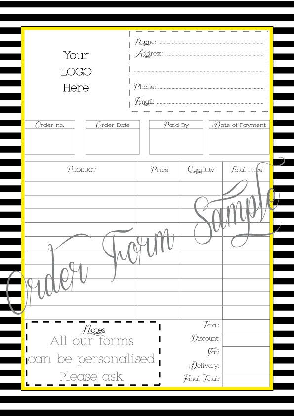 Order Form - Printable - Work at Home - PDF FILE - Personalised - delivery order form