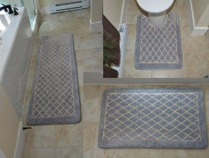 Amazon Com Diamond Gray 3pc Memory Foam Bath Mat 64 X 20 32 X