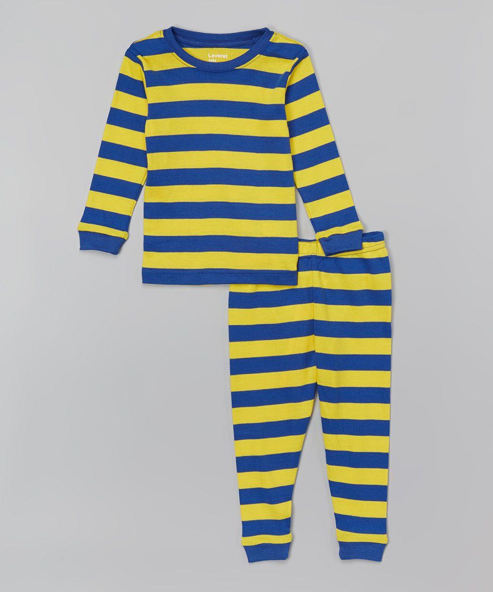 05808a62a Royal Blue   Yellow Stripe Pajama Set - Infant Toddler   Boys ...