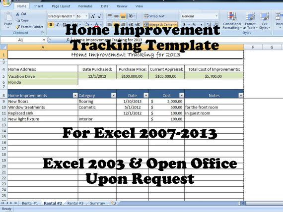 Home Improvement Tracking Template In Excel Spreadsheet  Template