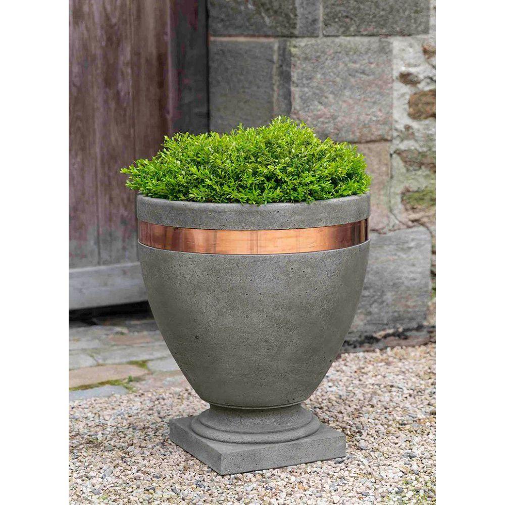 Kinsey Garden Decor Modern Copper Band Cast Stone Large Urn