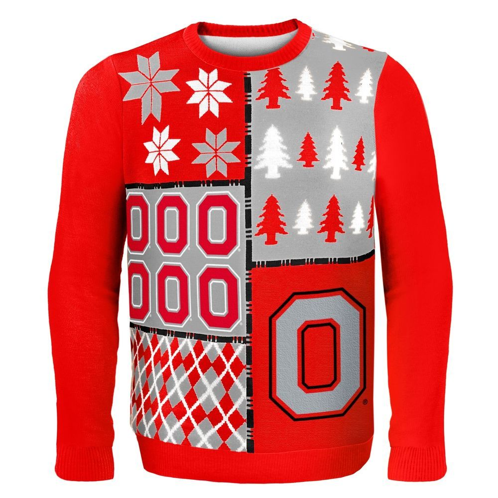 Ohio State Ugly Christmas Sweater.Klew Ncaa Busy Block Sweater Large Ohio State Buckeyes