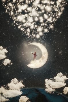 The Big Journey Of The Man On The Moon By Paula Belle Flores Fantasy Surrealistische Kunst Maanlicht Sprookjes