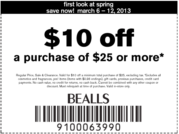 image relating to Peebles Coupons Printable identify Bealls Division Retail outlet: $10 off $25 Printable Coupon
