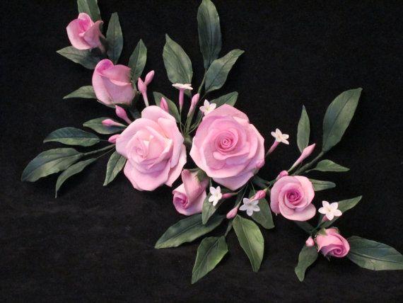 Cake Topper Rose And Chinese Jasmine Gumpaste By Sweetpeasugarart 125 00 Sugar Flowers Cake
