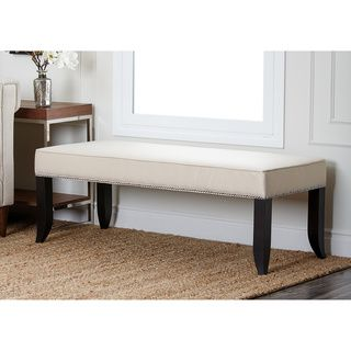 Abbyson Living Camden Cream Fabric Ottoman Bench | Overstock.com Shopping - Great Deals on Abbyson Living Benches