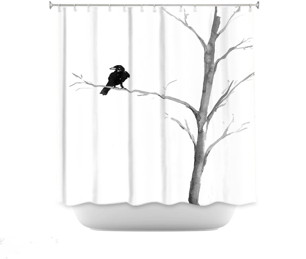 Baltimore Raven Shower Curtain Watercolor Painting Artistic Bathroom Decor