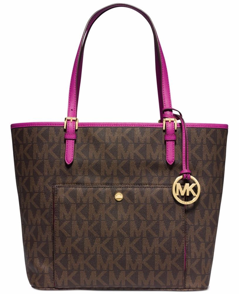 3ebb2ce69a87 New Michael Kors Jet Set Item Large Snap Pocket Tote Brown Fuschia Pink   MichaelKors  TotesShoppers