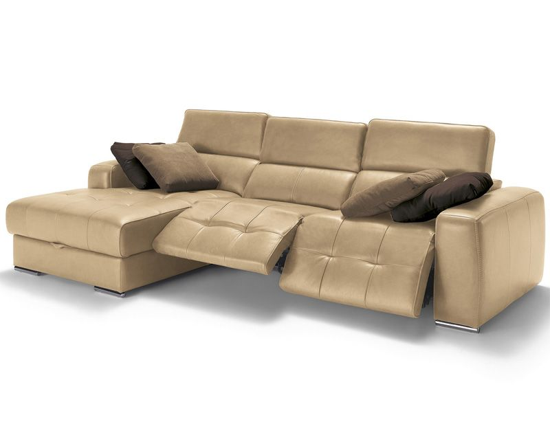 Sofá con chaise longue y sistema relax modelo Leonardo fabricado