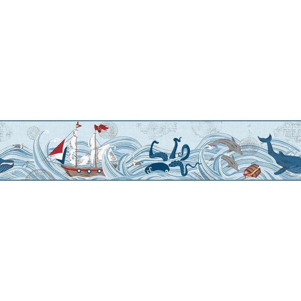 York Wallcoverings Waverly Kids Ships Ahoy Wallpaper Border Blue