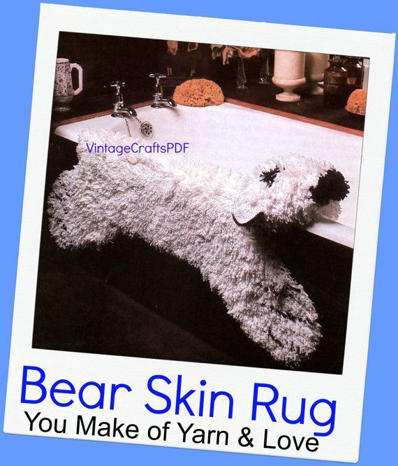 Instant Download Pdf Pattern Bear Rug Crochet Pattern Retro 1970s Latch Hook Rug Pattern Faux Bear Rug Fake Polar Bear Rug 1970s Bear Crochet D